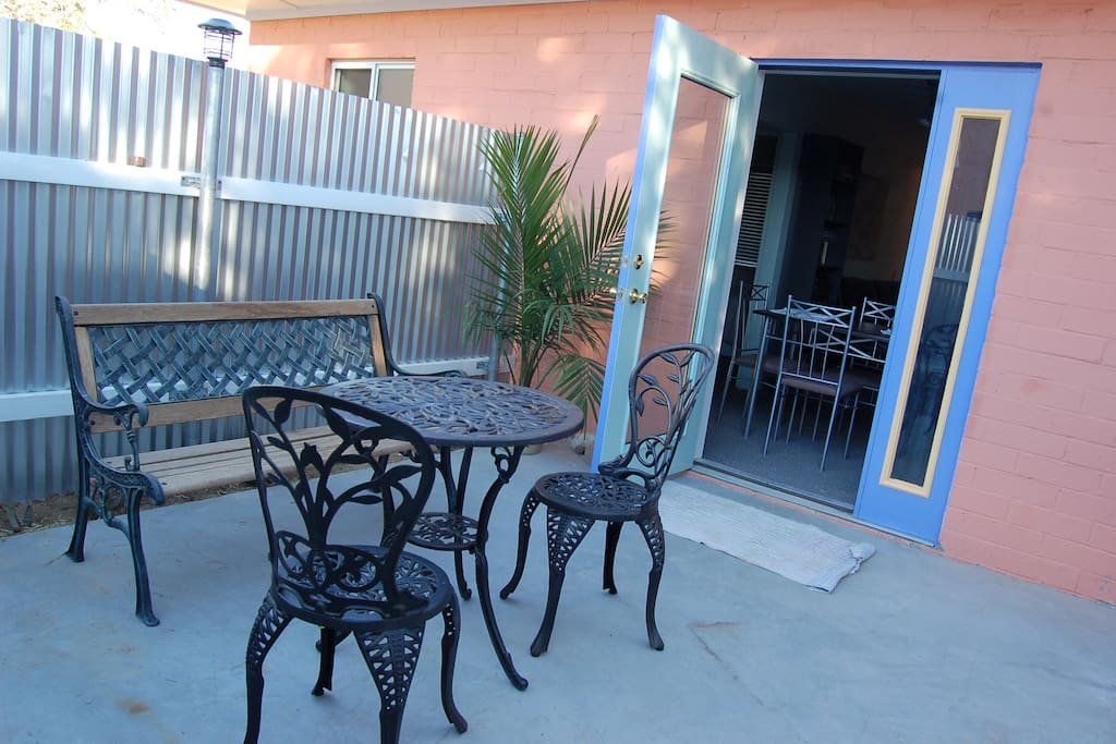 The private patio off the dining area.