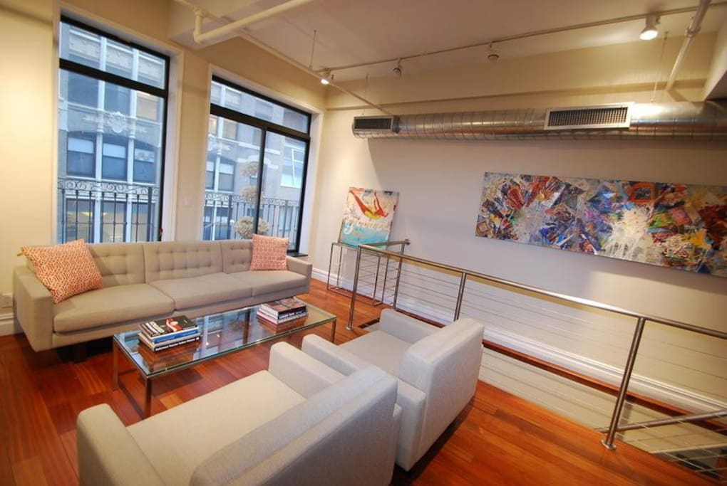 Commissioned art by NYC based artists. Brand new furniture.