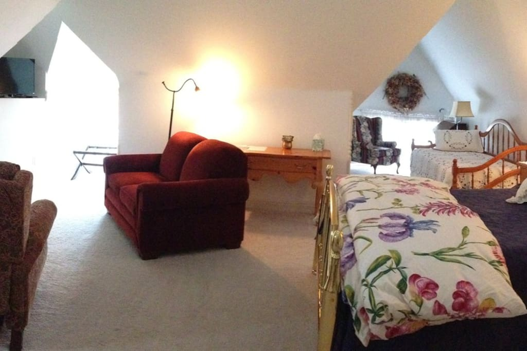 Penthouse Suite, smart TV, sm. Fridge & microwave, largest space with desk in suite with Queen bed and 2 sinks in bath.