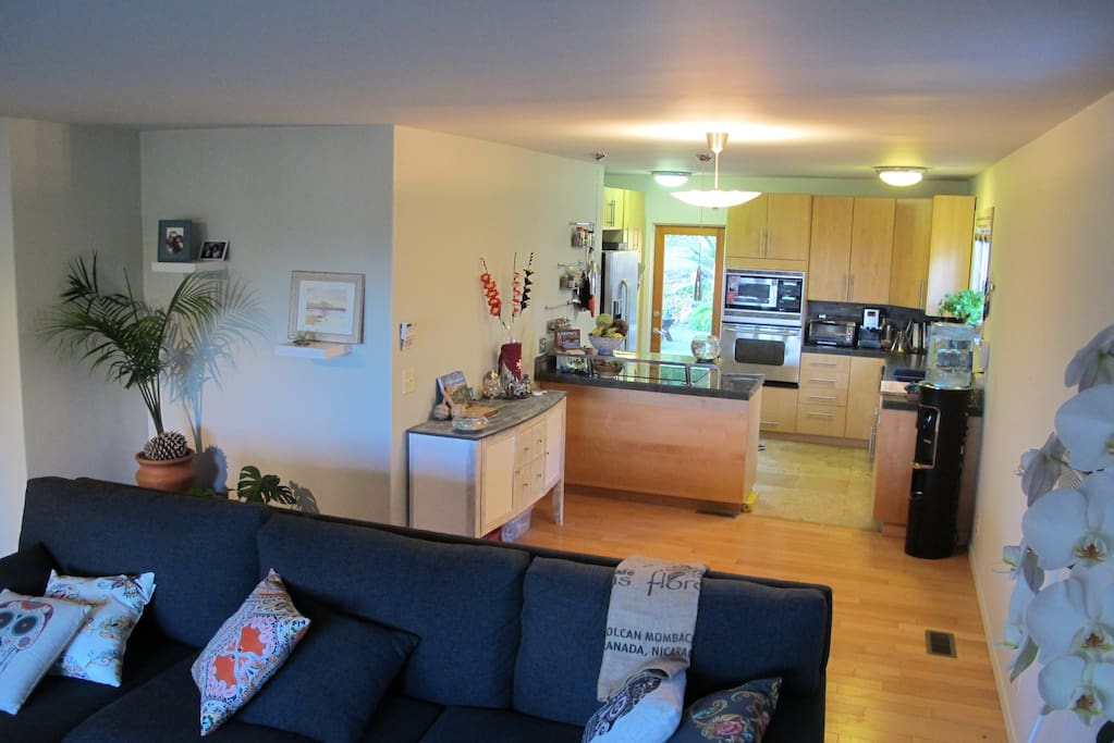 Spacious living room and full kitchen