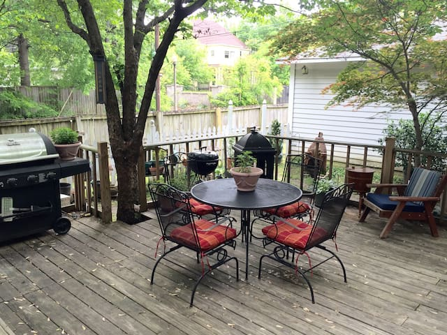 Chill & grill on the deck in the back yard. Smoking also allowed on the deck.
