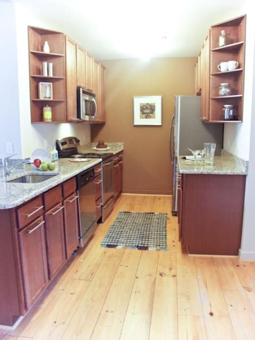 Large kitchen with modern appliances.  Have plenty of cooking supplies we can make available for use if you want to cook during your stay.