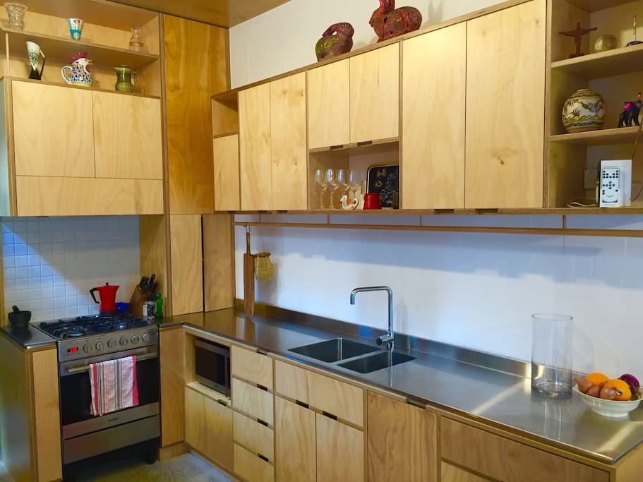 Stainless steel appliances and worktop