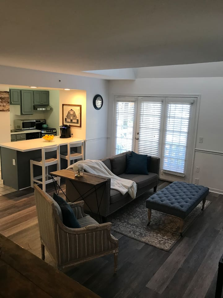 New floor ,updated kitchen and all brand new or reclaimed furniture.