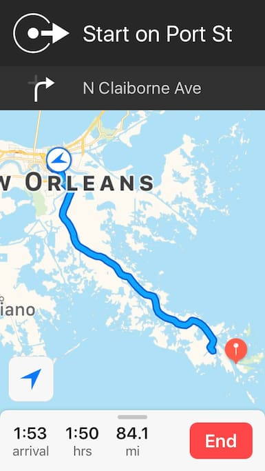 New Orleans to Gulf Keys (about 90 minutes by auto)