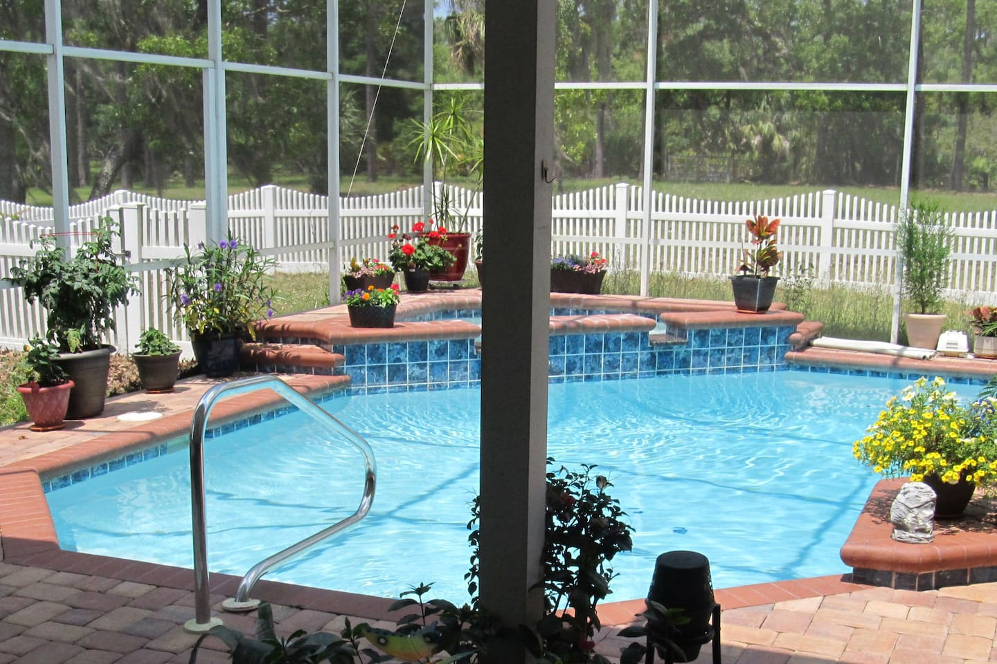 Your private paradise, the pool is 10-feet from your living room door. It is solar heated with warm water unless there is a cold snap. There is a BBQ, table that seats six where you can watch beautiful sunsets.