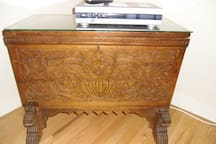 Hand carved solid wood Spanish chest.