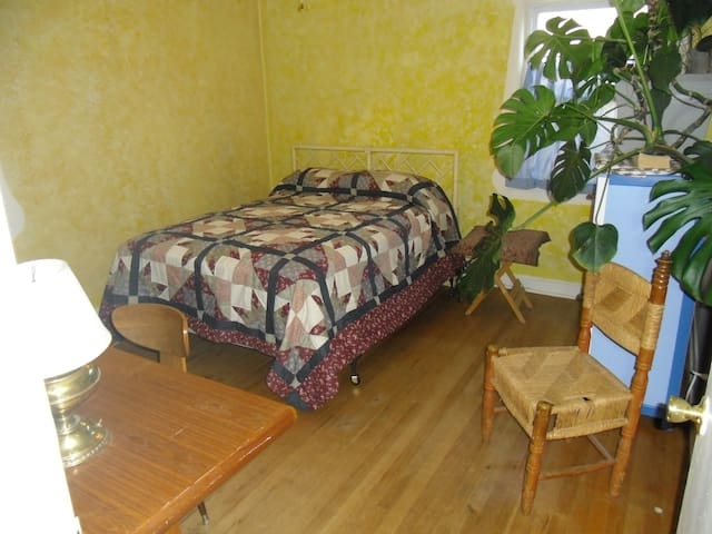 This second bedroom has a teak desk and a wonderful plant.