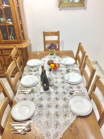 Dining table ready for our guests