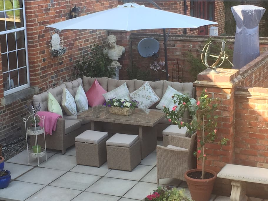 Outside private courtyard seating area