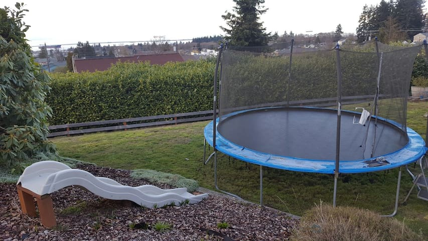 Feel free to play on the slide and trampoline! (Both the young and young at heart)