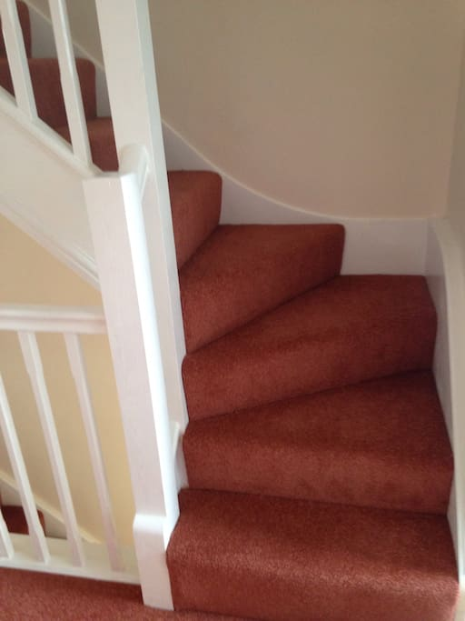 New stair carpet and new decorated hall, stair and landing