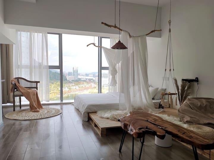 此时●5套婚纱●ins风|全景落地窗|临港新天地|乳胶床垫|极米投影|可做饭套房
