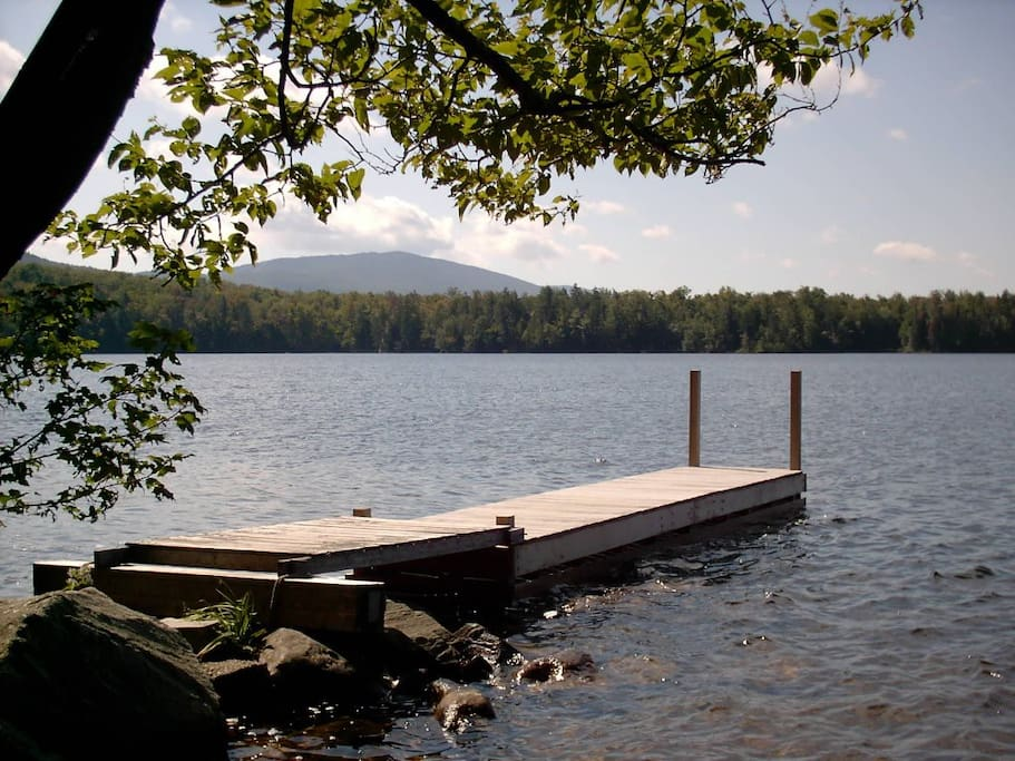 Enjoy our private dock on pristine & peaceful Lake Ninevah with views of majestic Mt. Okemo