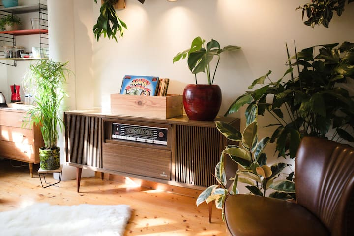 You can listen to our selection of beautiful records on this magnificent vintage record player!