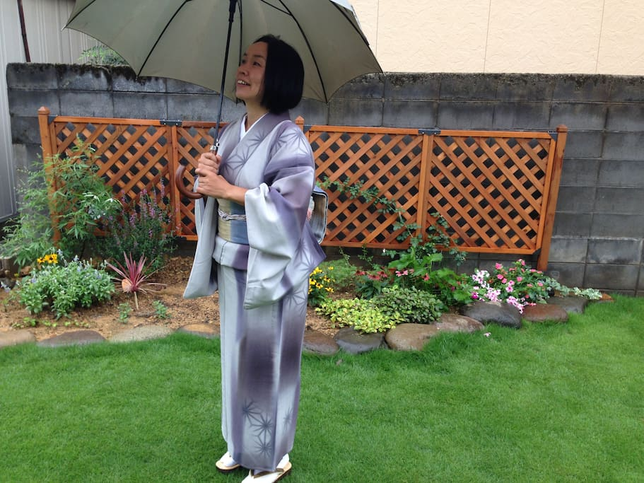 Hisako hanging out in the garden.