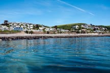 The village of Downderry from the sea.