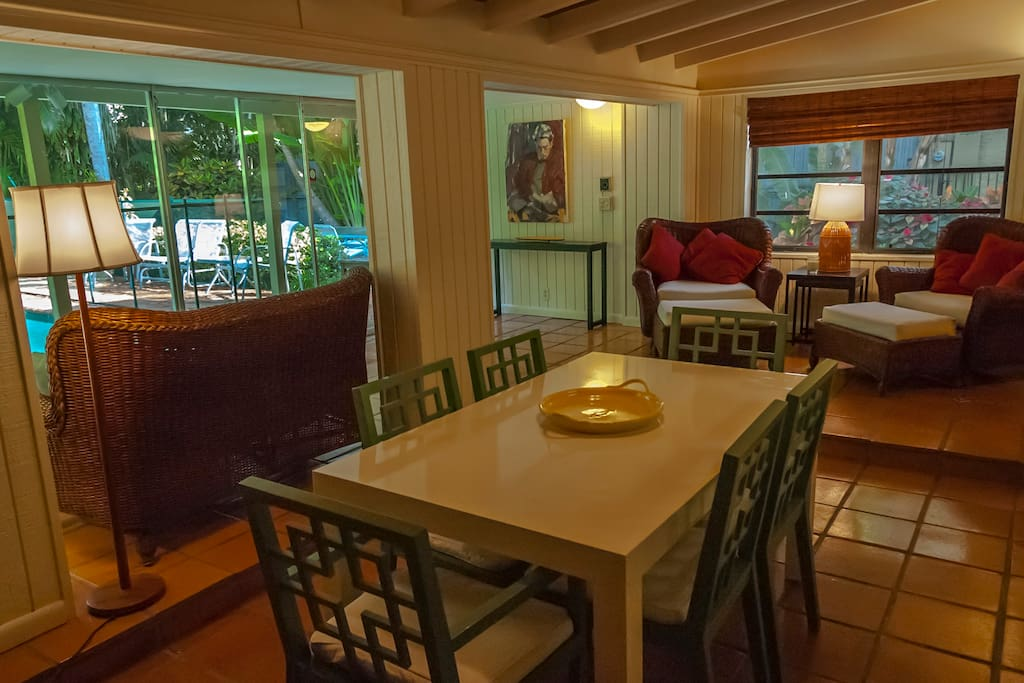 dining room with ethernet connection, porch and lounge chairs