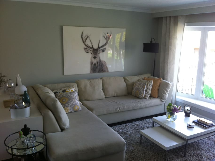 Living Room with large sectional. Large bay window with view of street and landscaped front yard.