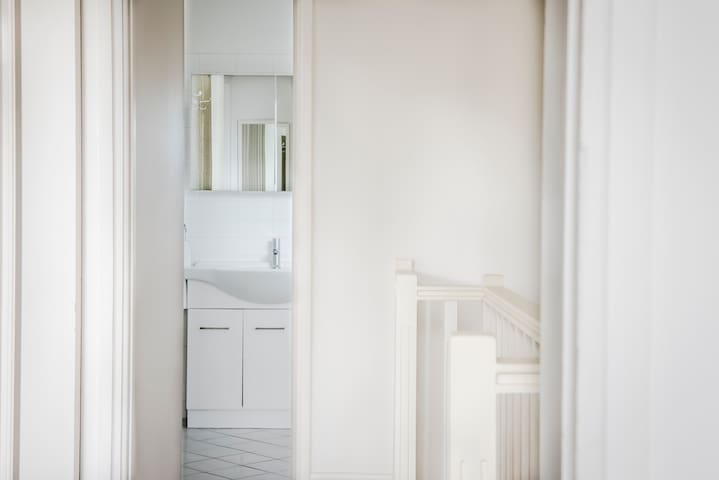 View from hallway into bathroom