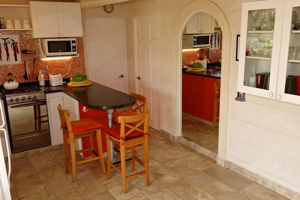 View of the kitchen  from the patio entrance.