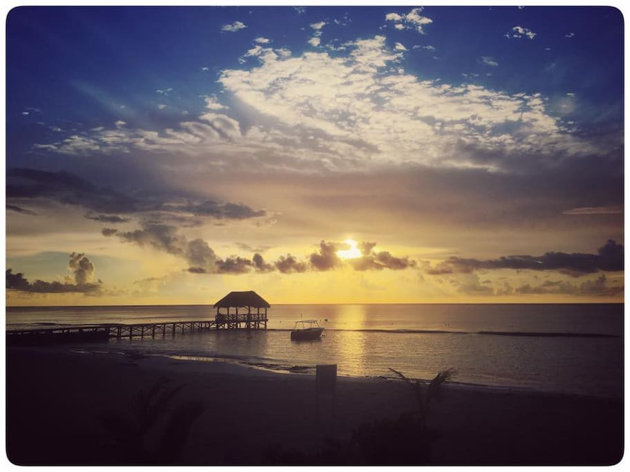 Sunrise at Xcalacoco beach, located just a five-minute walk from our property.