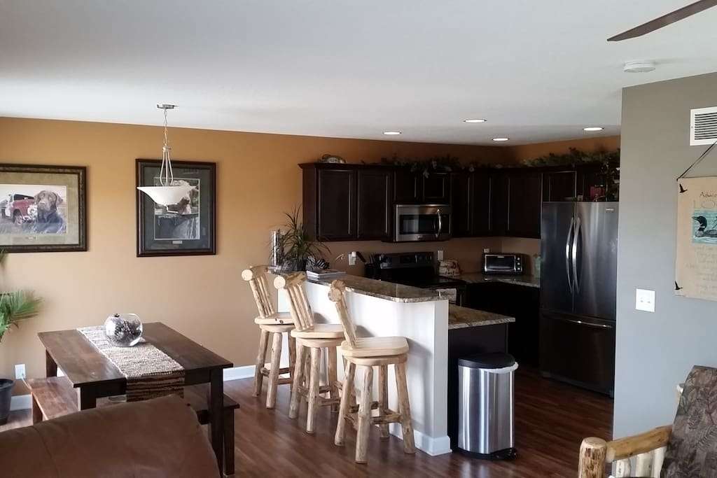 Clean, Well lit Kitchen with ALL Utensils!
