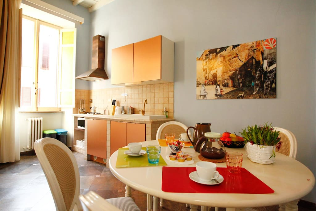 Table for 4 people and kitchenette
