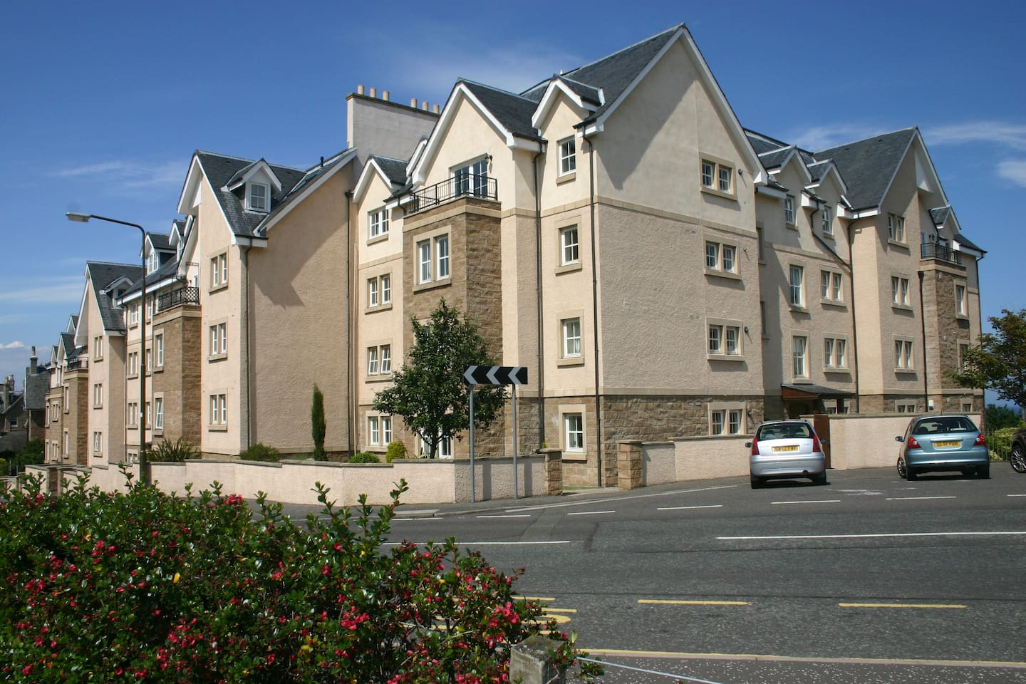 a modern apartment block close to the town centre