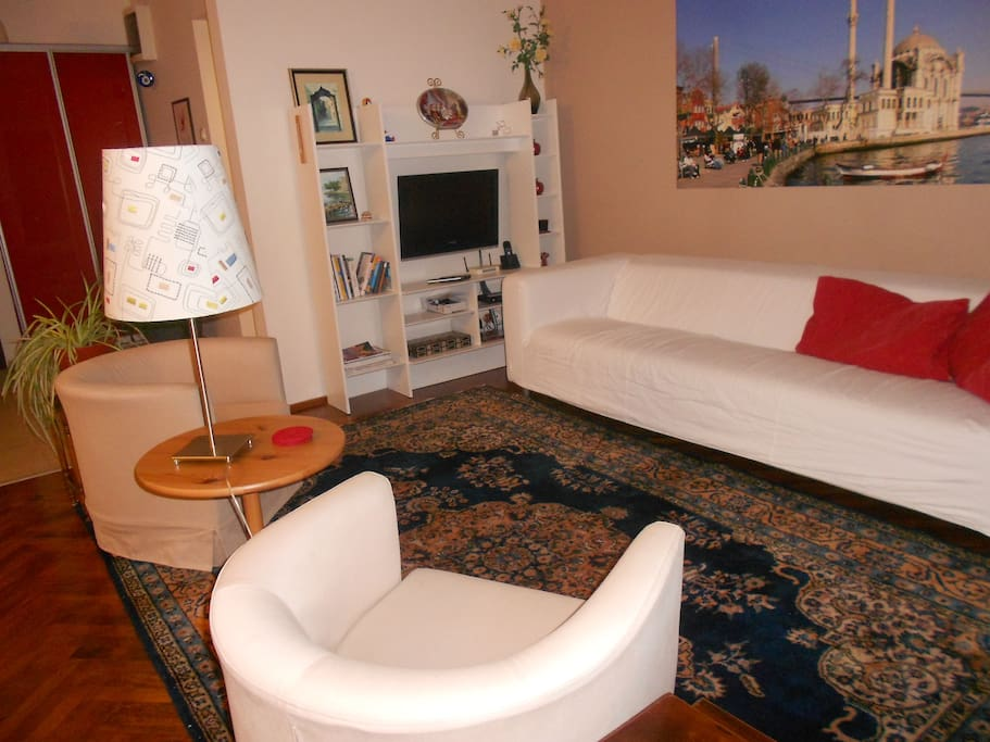 Living room with furniture moved around.