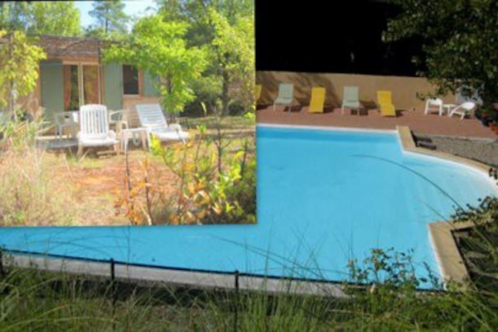 Vue d'ensemble. Maisonnette et très grande piscine.