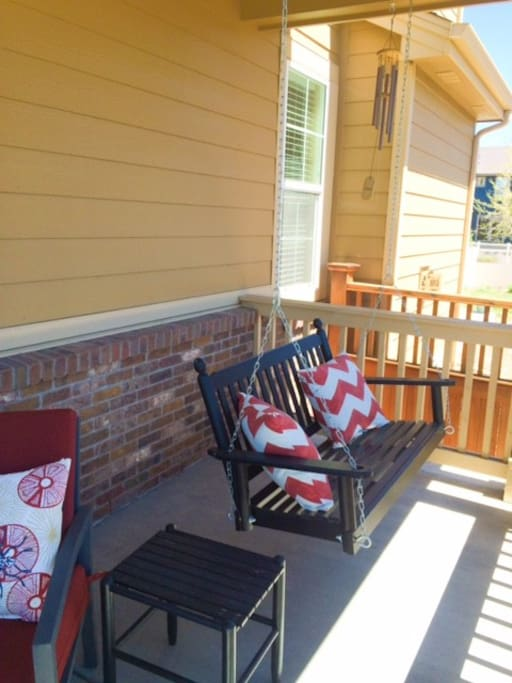 wrap-around porch seats 6 with swing,