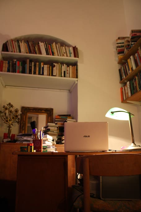 """Writing desk and working space (some of the books have been removed so to give a """"lighter"""" feel to the house)"""