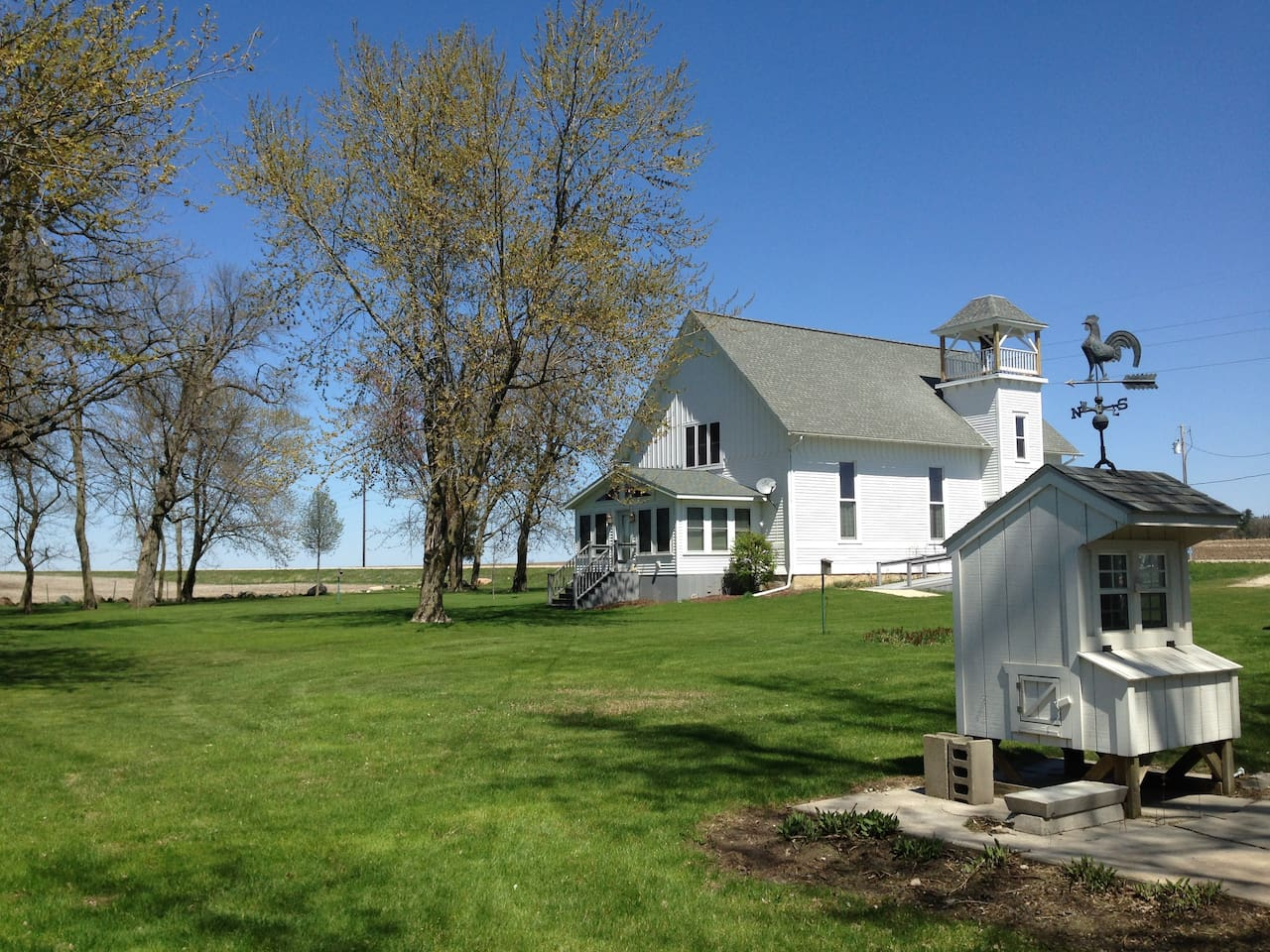 Springtime in rural Iowa and EBOC...yes, you are renting that entire church!  NOT the chicken coop!