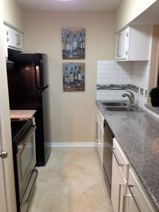 Kitchen with Stove, Refridgerator, Freezer, Dishwasher, Microwave and Double Sink