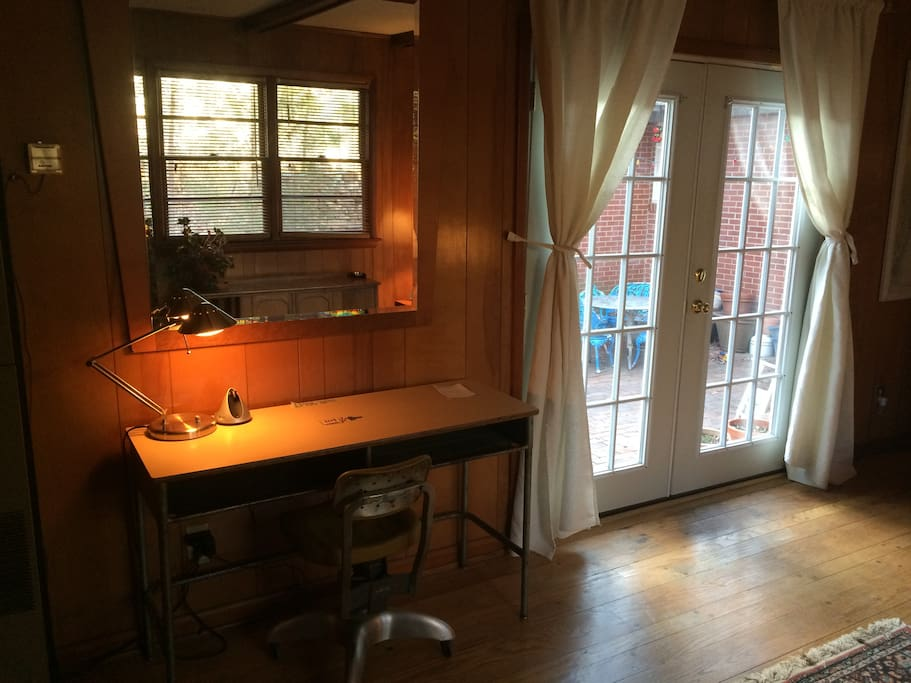 vintage desk near french doors