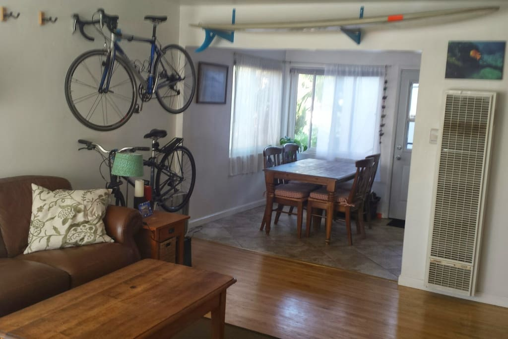 living room and dining room (bikes will not be present during your stay)
