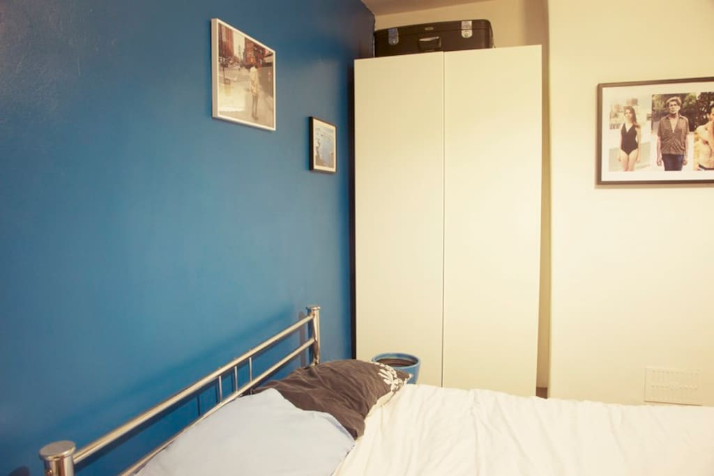 Double bed in large bedroom