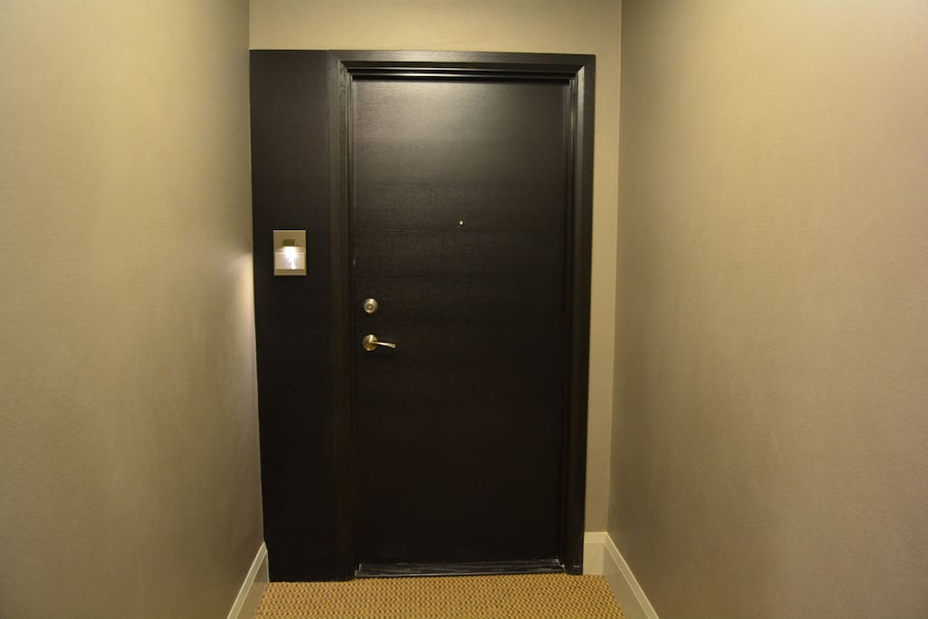 As you walk up to the front door. The suite number is engraved on a metal plate with lighting.