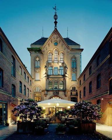 scenic courtyard of listed monument Josty-Brauerei (brewery)