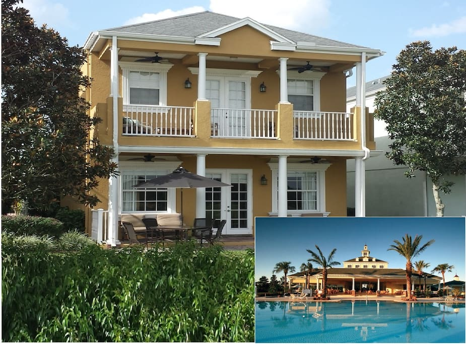 House facing golf course (Resort best view of course) and one among 10 available pools.