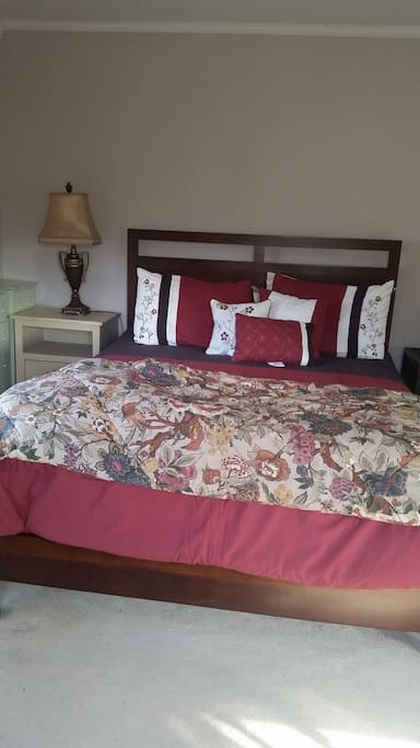 Comfortable queen size bed.