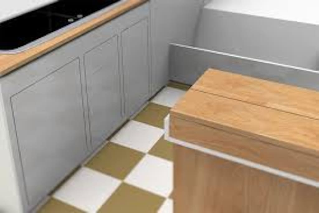 Non slip floor tiles and units in cream and mahogany