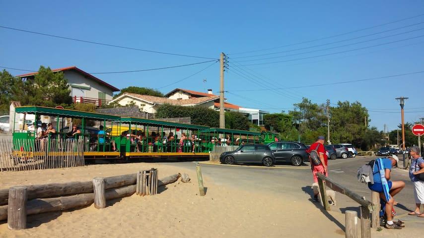 Le petit train du Cap Ferret qui traverse la presqu'île, 800m de traversée jusqu'à la plage de l'Horizon.