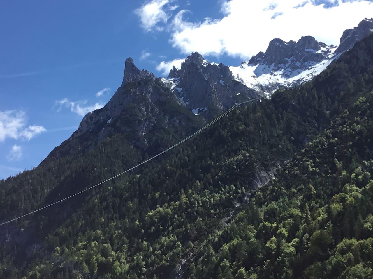 Ferienhaushälfte 4erspitzblick bergblick zur Viererspitze und karwendel
