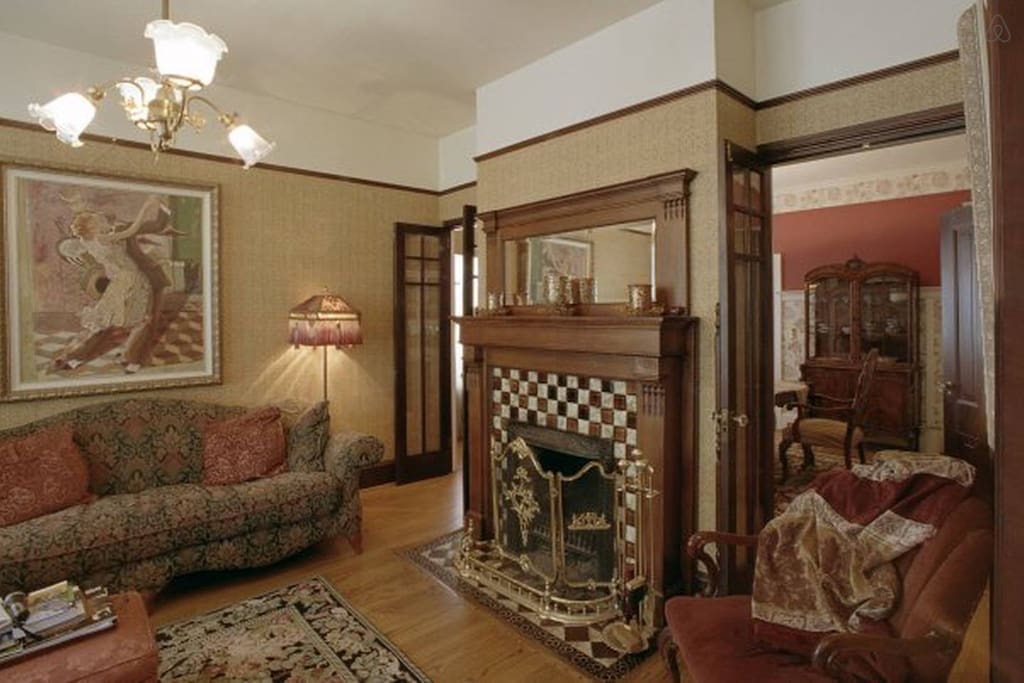 Double parlor with fireplace