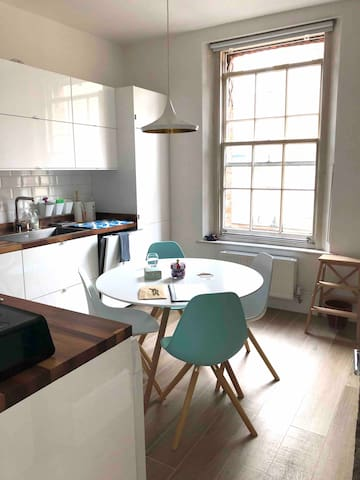 Fully equipped kitchen with dishwasher. You'll find teas and coffee, cooking essentials, jam/honey etc for breakfast.  Washing machine with tumble dryer.
