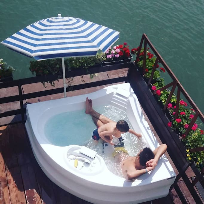 Jacuzzi on summer terrace