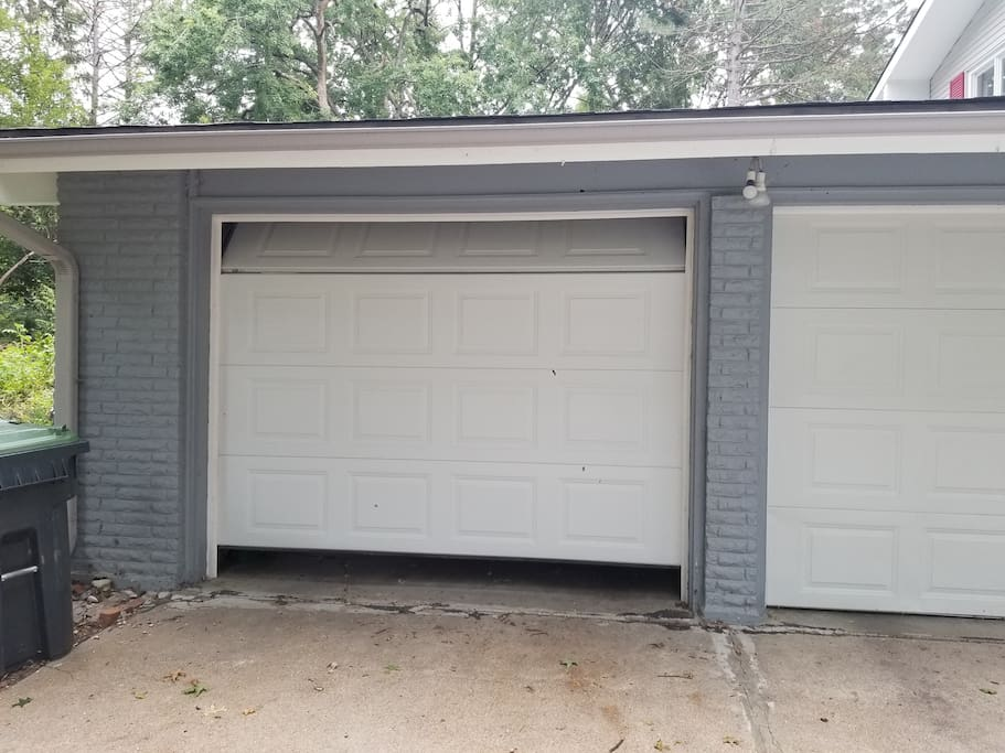 Two stall garage. Park on the left.