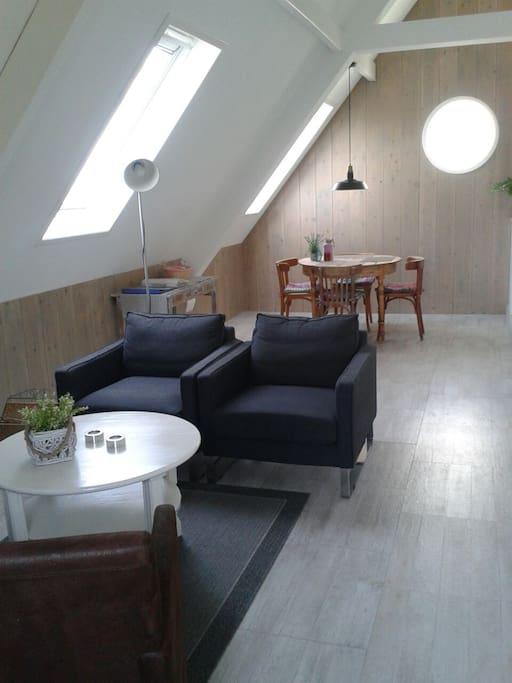 woonkamer met ruimte voor een 1 persoons bed